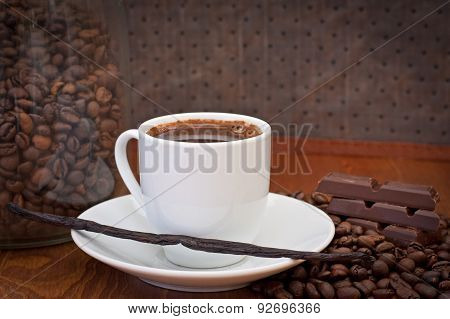 cup of coffee, vanilla bean and chocolate