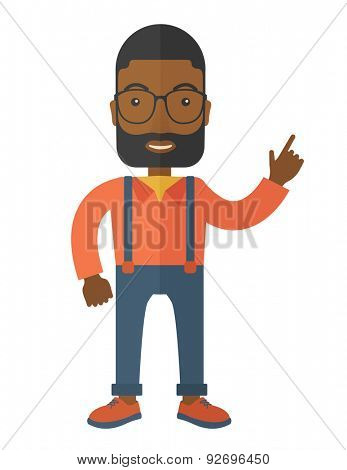 A black guy proud of himself being a entrepreneur. A Contemporary style. Vector flat design illustration isolated white background. Vertical layout
