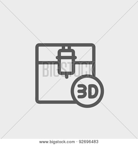 3D printing machine icon thin line for web and mobile, modern minimalistic flat design. Vector dark grey icon on light grey background.