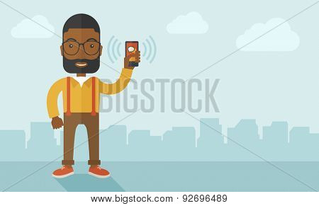An office worker holding his smartphone vibrating. A contemporary style with pastel palette soft blue tinted background with desaturated clouds. Vector flat design illustration. Horizontal layout.