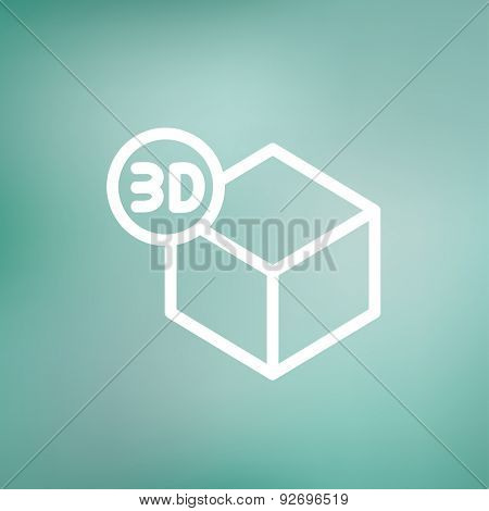 3D box icon thin line for web and mobile, modern minimalistic flat design. Vector white icon on gradient mesh background.