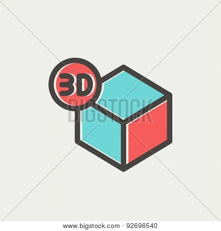 3D box icon thin line for web and mobile, modern minimalistic flat design. Vector icon with dark grey outline and offset colour on light grey background.