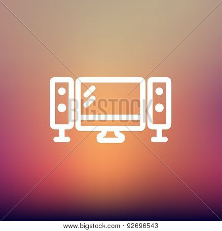 Flat screen television with speakers icon thin line for web and mobile, modern minimalistic flat design. Vector white icon on gradient mesh background.
