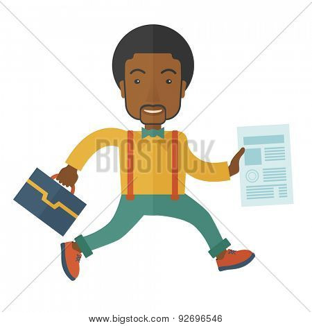 A happy businessman holding a bag and signed contract paper for his business. A Contemporary style. Vector flat design illustration isolated white background. Square layout