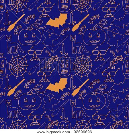 Dark Halloween Seamless Pattern