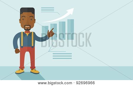A black guy businessman viewing the company sales that grows. Business growth concept. A contemporary style with pastel palette soft blue tinted background. Vector flat design illustration. Horizontal