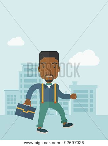 A Young businessman walking through the city's streets to attend a business meeting carrying a briefcase. A contemporary style with pastel palette soft blue tinted background with desaturateds clouds