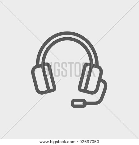 Headphones with microphone icon thin line for web and mobile, modern minimalistic flat design. Vector dark grey icon on light grey background.