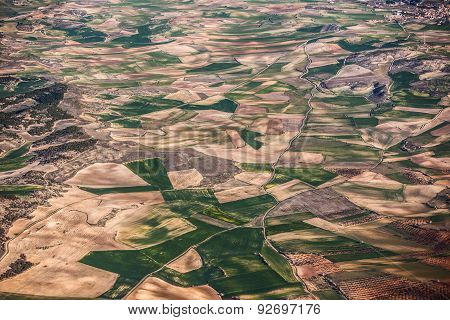 Aerial View Of Farmland From Airplane