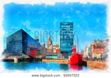 View Of Liverpool's Historic Waterfront, With Modern And Old Architecture Digitally Painted In Aquar