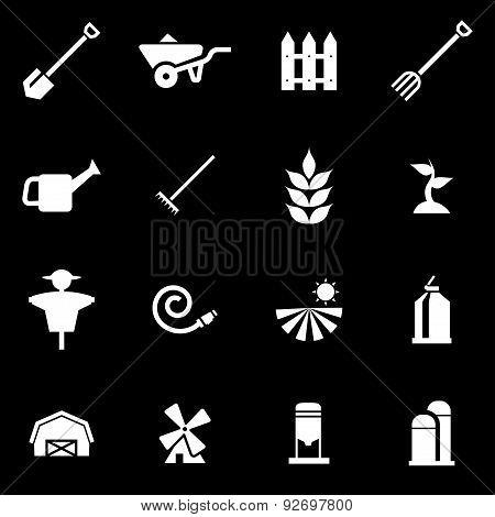 Vector white farming icon set