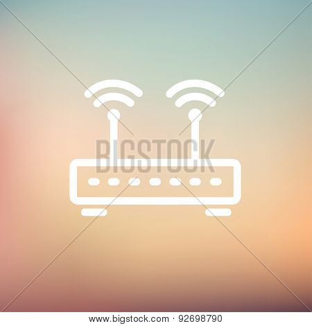 Wireless router icon thin line for web and mobile, modern minimalistic flat design. Vector white icon on gradient mesh background.