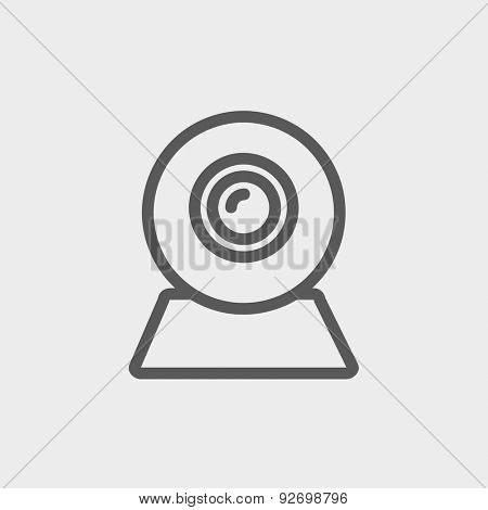 Web camera icon thin line for web and mobile, modern minimalistic flat design. Vector dark grey icon on light grey background.