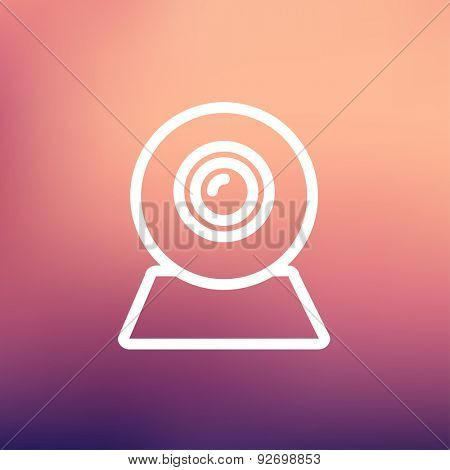 Web camera icon thin line for web and mobile, modern minimalistic flat design. Vector white icon on gradient mesh background.
