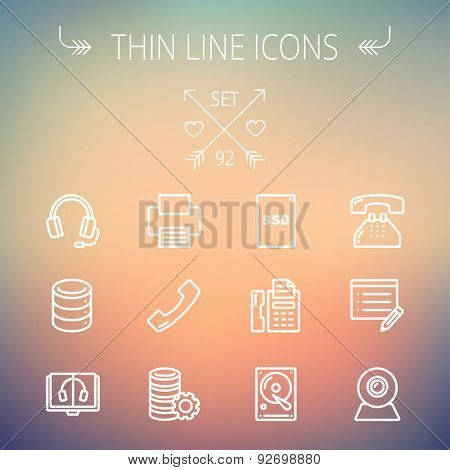 Technology thin line icon set for web and mobile. Set includes - headphones, server, printer, fax machine, telephone receiver, SSD, web cam, hard disk. Modern minimalistic flat design. Vector white