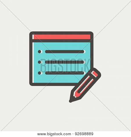 Note pad and pencil icon thin line for web and mobile, modern minimalistic flat design. Vector icon with dark grey outline and offset colour on light grey background.