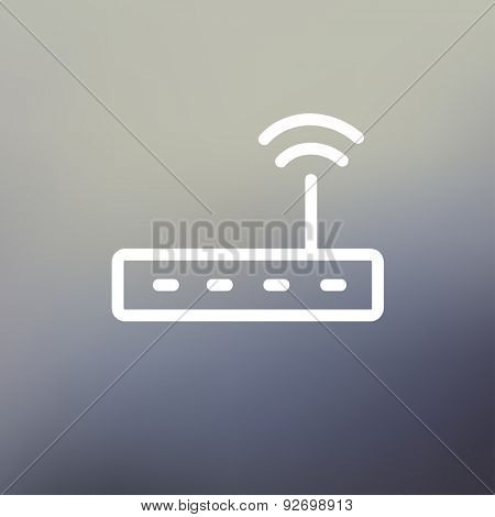 Wifi router modem icon thin line for web and mobile, modern minimalistic flat design. Vector white icon on gradient mesh background.