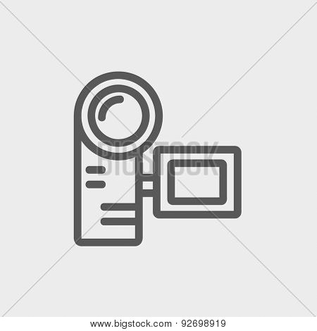 Camcorder icon thin line for web and mobile, modern minimalistic flat design. Vector dark grey icon on light grey background.