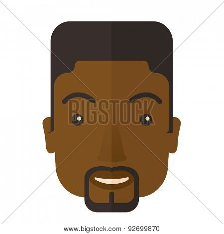 A face of a happy and good looking black guy with his hairstyle. A Contemporary style. Vector flat design illustration isolated white background. Square layout