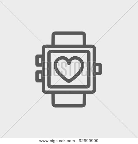 Wristwatch with heart display icon thin line for web and mobile, modern minimalistic flat design. Vector dark grey icon on light grey background.
