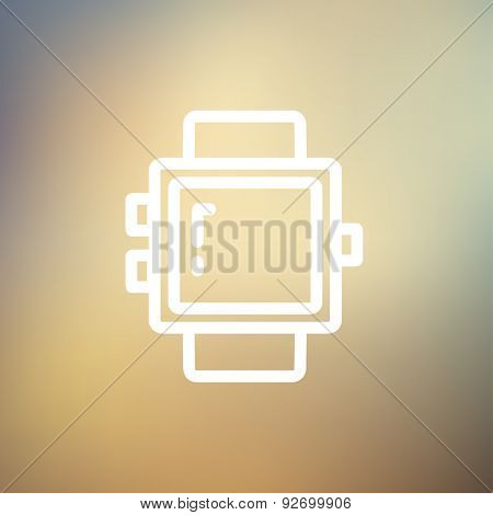 Blank smartwatch icon thin line for web and mobile, modern minimalistic flat design. Vector white icon on gradient mesh background.