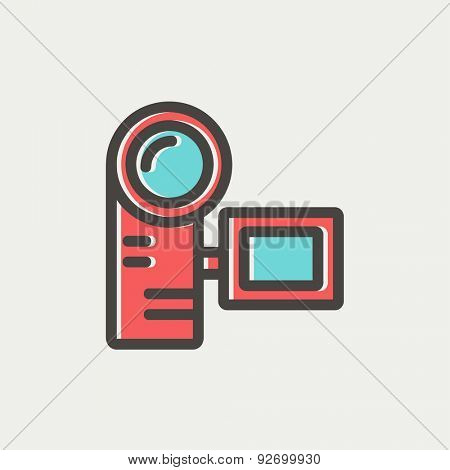 Camcorder icon thin line for web and mobile, modern minimalistic flat design. Vector icon with dark grey outline and offset colour on light grey background.