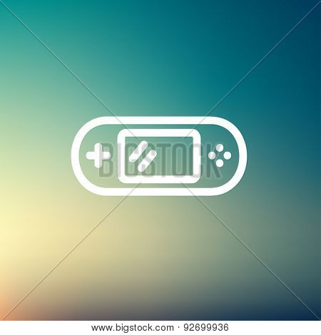 Video game controller icon thin line for web and mobile, modern minimalistic flat design. Vector white icon on gradient mesh background.