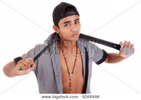 Young And Handsome Latin Man, With A Belt - As A Bad Boy Isolated On White, Studio Shot