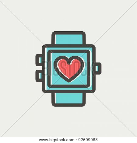 Wristwatch with heart display icon thin line for web and mobile, modern minimalistic flat design. Vector icon with dark grey outline and offset colour on light grey background.