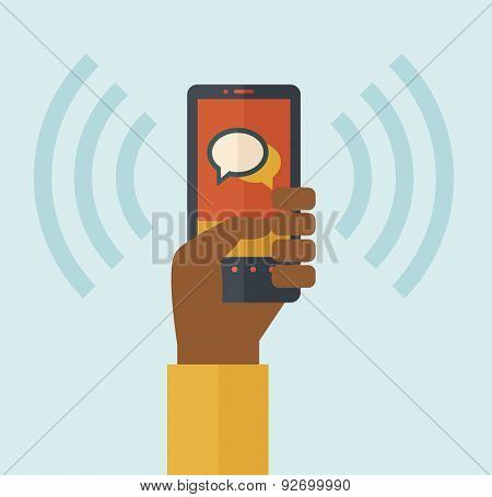 A hand holding a smartphone vibrating. A contemporary style with pastel palette soft blue tinted background. Vector flat design illustration. Square layout.