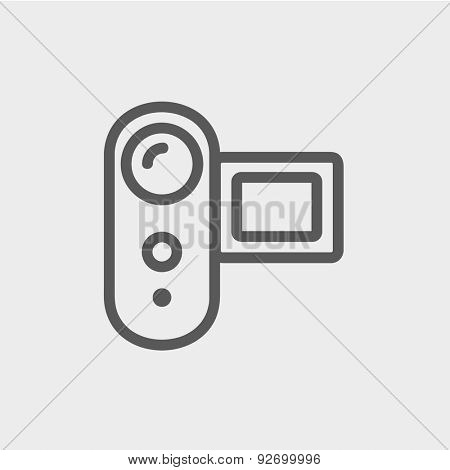 Digital video camera icon thin line for web and mobile, modern minimalistic flat design. Vector dark grey icon on light grey background.