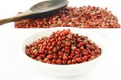 stock photo of peppercorns  - red peppercorns seeds on a white background - JPG