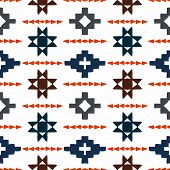 picture of native american ethnicity  - Vector seamless ethnic pattern with american indian motifs in multiple colors - JPG
