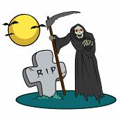 image of creatures  - Illustration with image of halloween creature near grave with text RIP - JPG