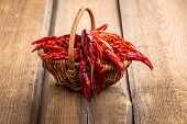 image of crawfish  - crawfish in the basket on wooden background - JPG