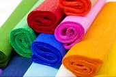 stock photo of crepes  - a few rolls of crepe paper in different colors - JPG