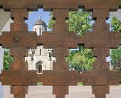 picture of gates heaven  - Temple of Christian monastery through wooden lattice gates - JPG