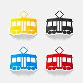 stock photo of tram  - tram paper sticker with shadow - JPG