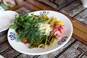 foto of pickled vegetables  - Plate with pickled vegetables in the russian restaurant - JPG