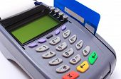 picture of terminator  - Payment terminal with credit card on white background credit card reader payment terminal finance concept - JPG