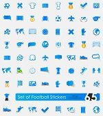 picture of offside  - football vector sticker icons with shadow - JPG