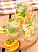 image of iced-tea  - ice tea with citrus fruits - JPG