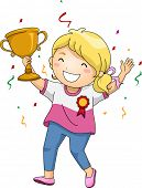 picture of trophy  - Illustration of an Overjoyed Girl Celebrating Her Victory While Holding Her Trophy - JPG