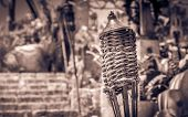 foto of torches  - Traditional torche on mexican graveyard on Yucatan - JPG