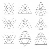 stock photo of pyramid shape  - Collection of trendy geometric shapes - JPG