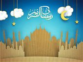 stock photo of moon stars  - Creative paper mosque design with Arabic Islamic calligraphy of text Ramadan Kareem on hanging stars - JPG