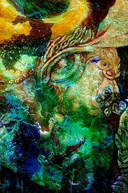 image of creatures  - elven fairy creatures and energy lights an insight in a fairy realm face portrait closeup cracklle effect collage - JPG