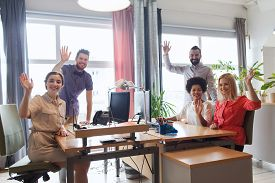 image of waving hands  - business - JPG