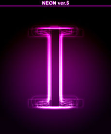 image of alphabet letters  - Glowing neon letter on black background - JPG