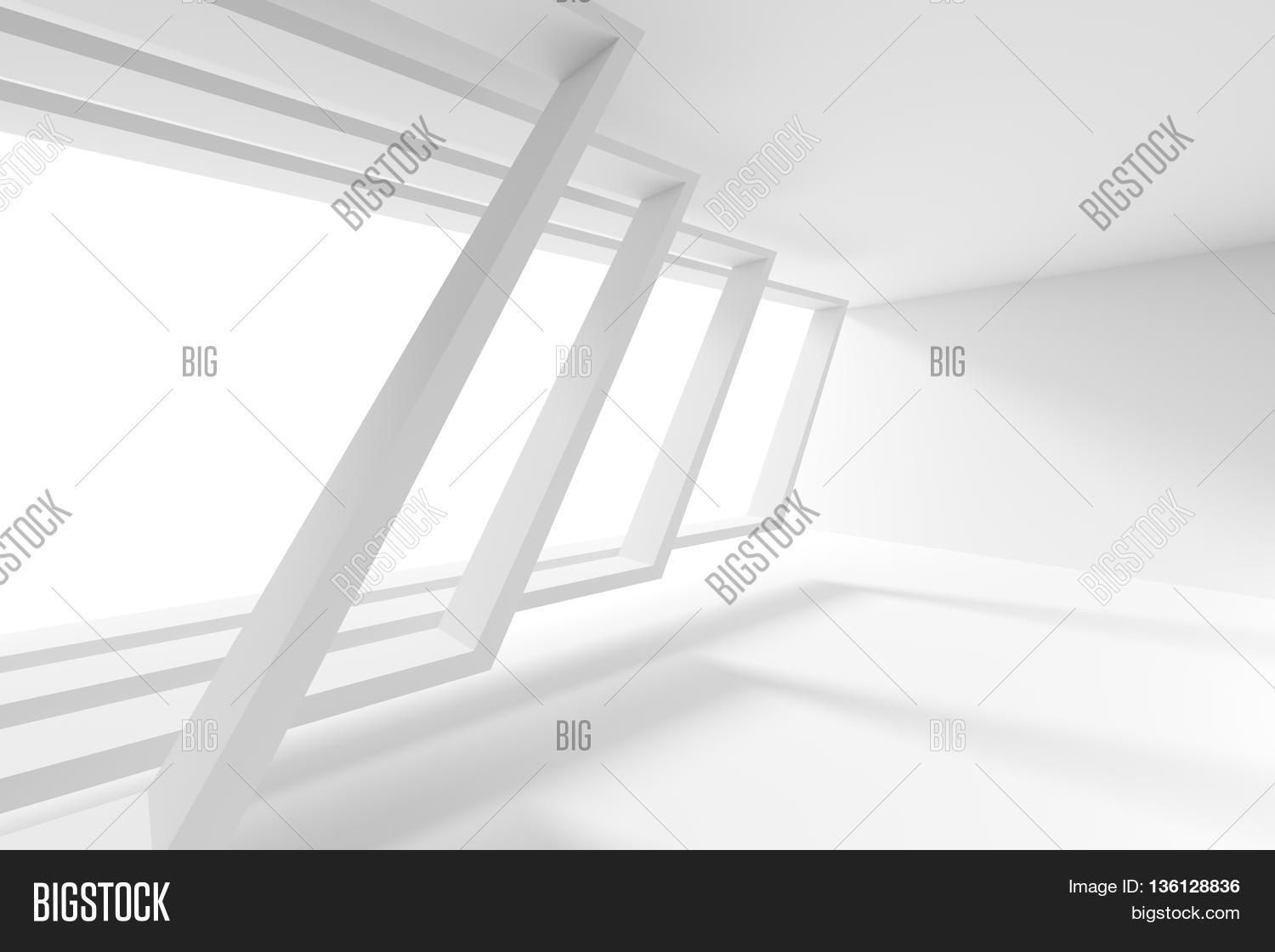 White Building Construction Abstract Futuristic Architecture Background Minimal Office Interior Design Empty Room